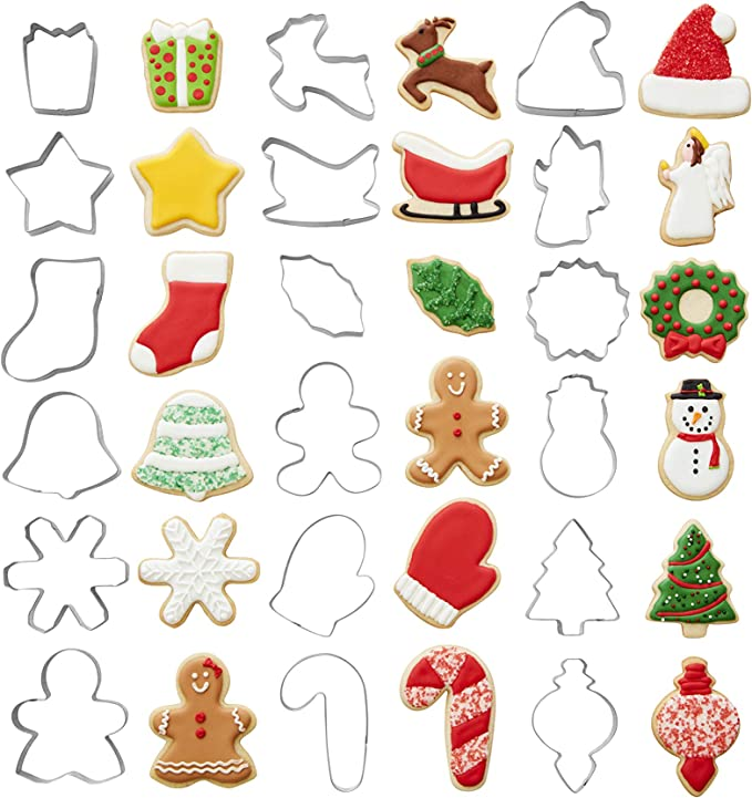 Christmas Set of 8 Metal Cookie Cutters Tree Star Bell Angel Candy Cane Biscuit
