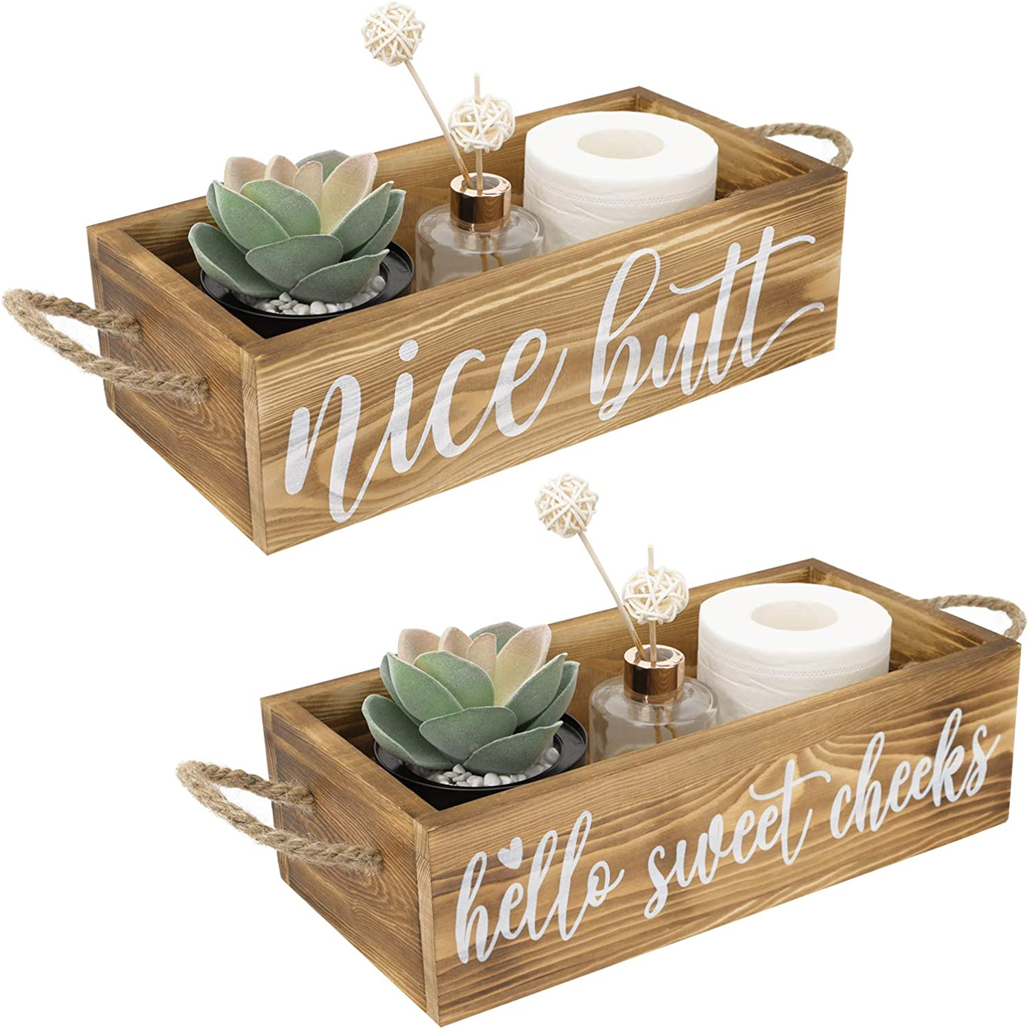Luxspire Bathroom Decor Box, 2 Side Farmhouse Wooden Toilet Paper Tissue Holder Storage Tray with Funny Sayings, Toilet Tank Topper Organizer for Plants, Diaper Rustic Bathroom Signs Decorer