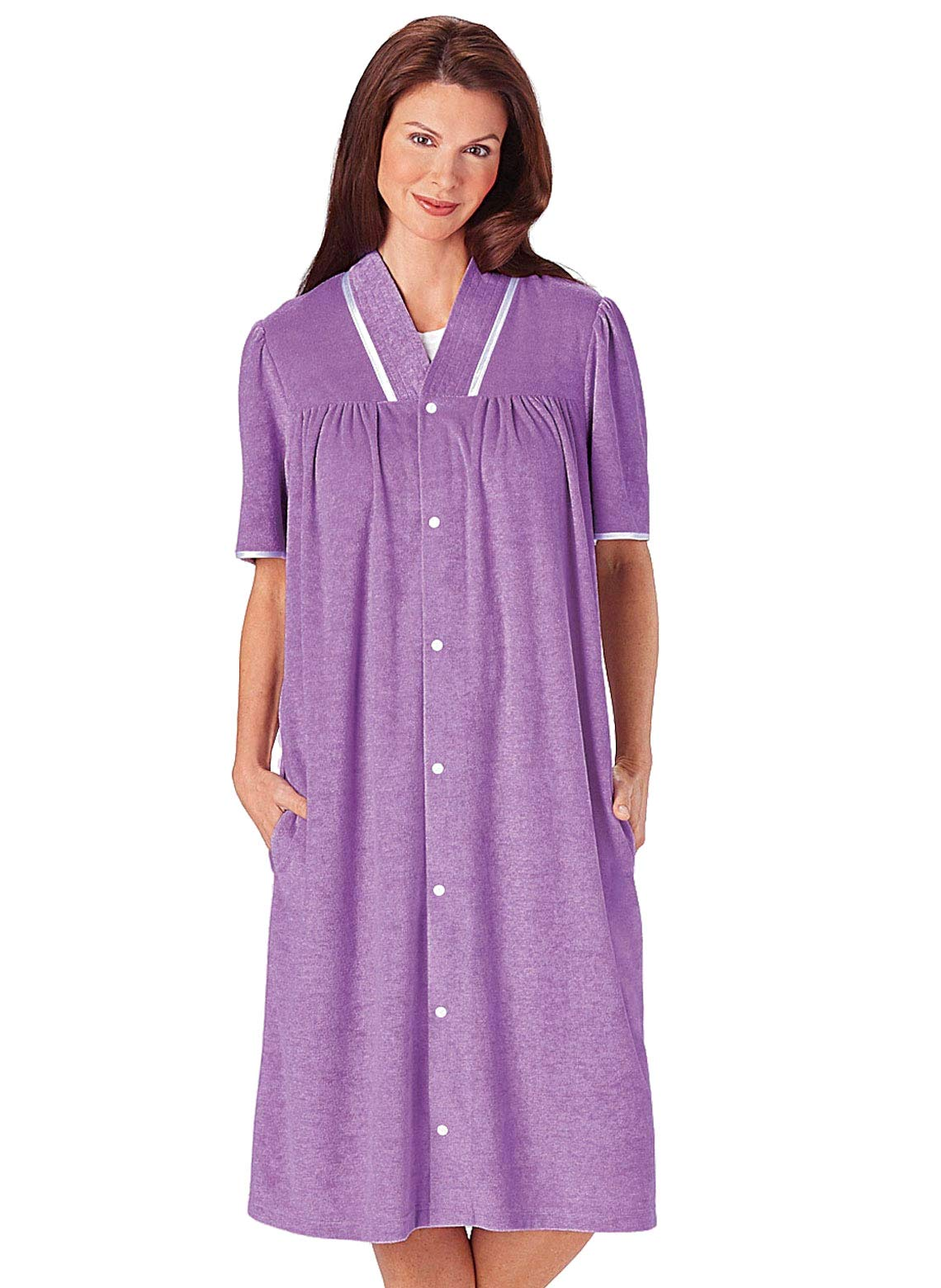 Carol Wright Gifts Terry Snap Robe, Color Purple, Size Extra Large (3X), Purple, Size Extra Large (3X)