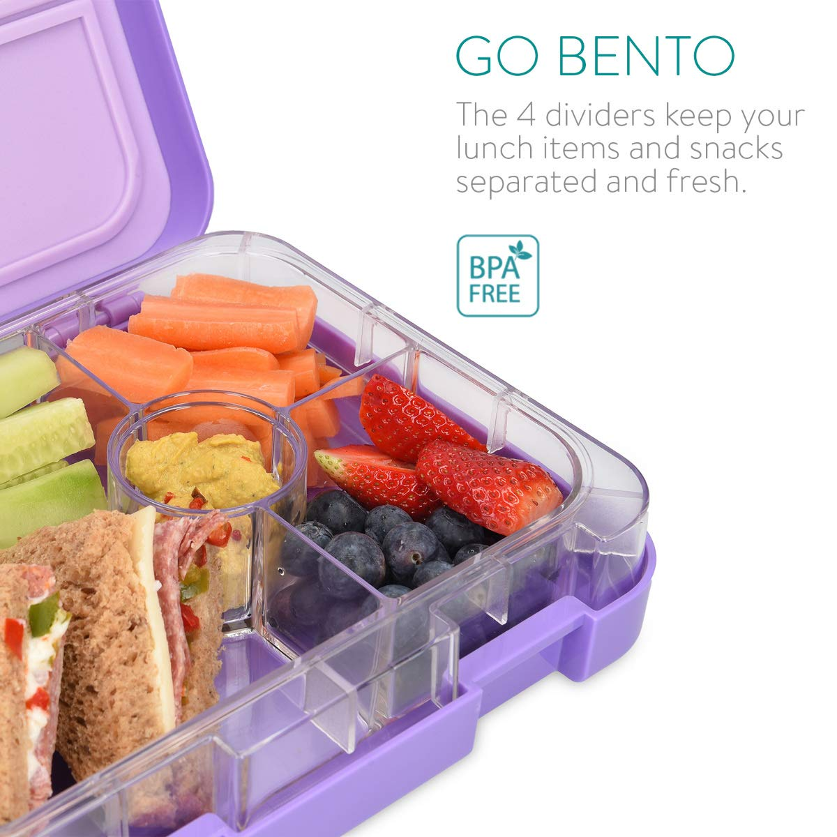 Navaris Recipiente herm/ético de Comida Lunchbox Estilo bento con 4 Compartimentos para ni/ños y Adultos para el Colegio o Trabajo en Azul Oscuro