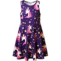 Jxstar Unicorn Dresses for Girls Sleeveless Summer Swing Casual Clothes for Little Kids