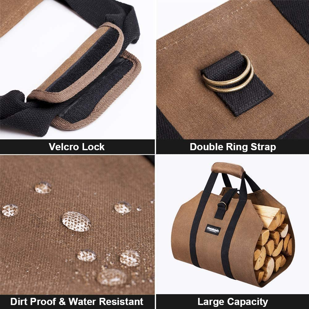 """Amagabeli Fireplace Carrier Waxed Canvas Fire Place Sturdy Wood Carring Bag Bundle Fireplace Log Tongs 26/"""""""