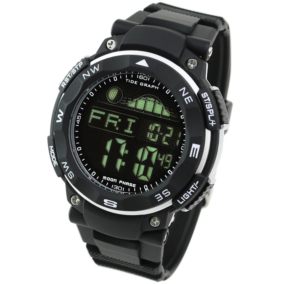 [Lad Weather] Tide Graph 100m Waterproof Moon Phase High & Low Tide Pacer Fishing/Surfing Men's Watch