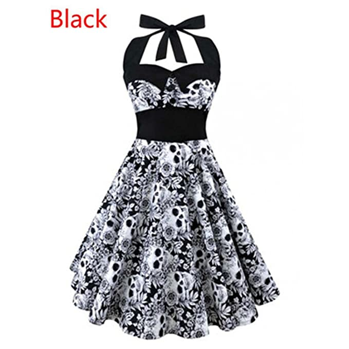 bb029773f1e George Gouge 5XL Large Size Skull Printed Dress Women Punk Strapless Halter  Party Dresses Bowknot Self