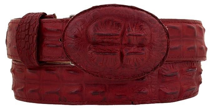 Mens Alligator Horn Back Belt Red Real Leather Western Round Buckle