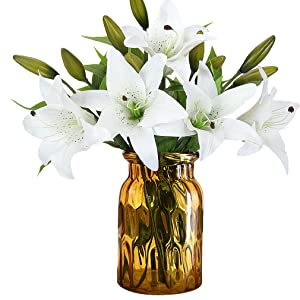 RERXN Artificial Tiger Lily Latex Real Touch Flower Home Wedding Party Decor,Pack of 5 (White)
