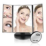 Lighted Makeup Mirror, ELOKI 22 Led Trifold Vanity Mirror with Lights, 3X 2X 1X Magnification Touch Screen 180 Degree Rotation, Removable 10X Cosmetic Spot Mirror as FREE GIFT for Home Beauty Bathroom