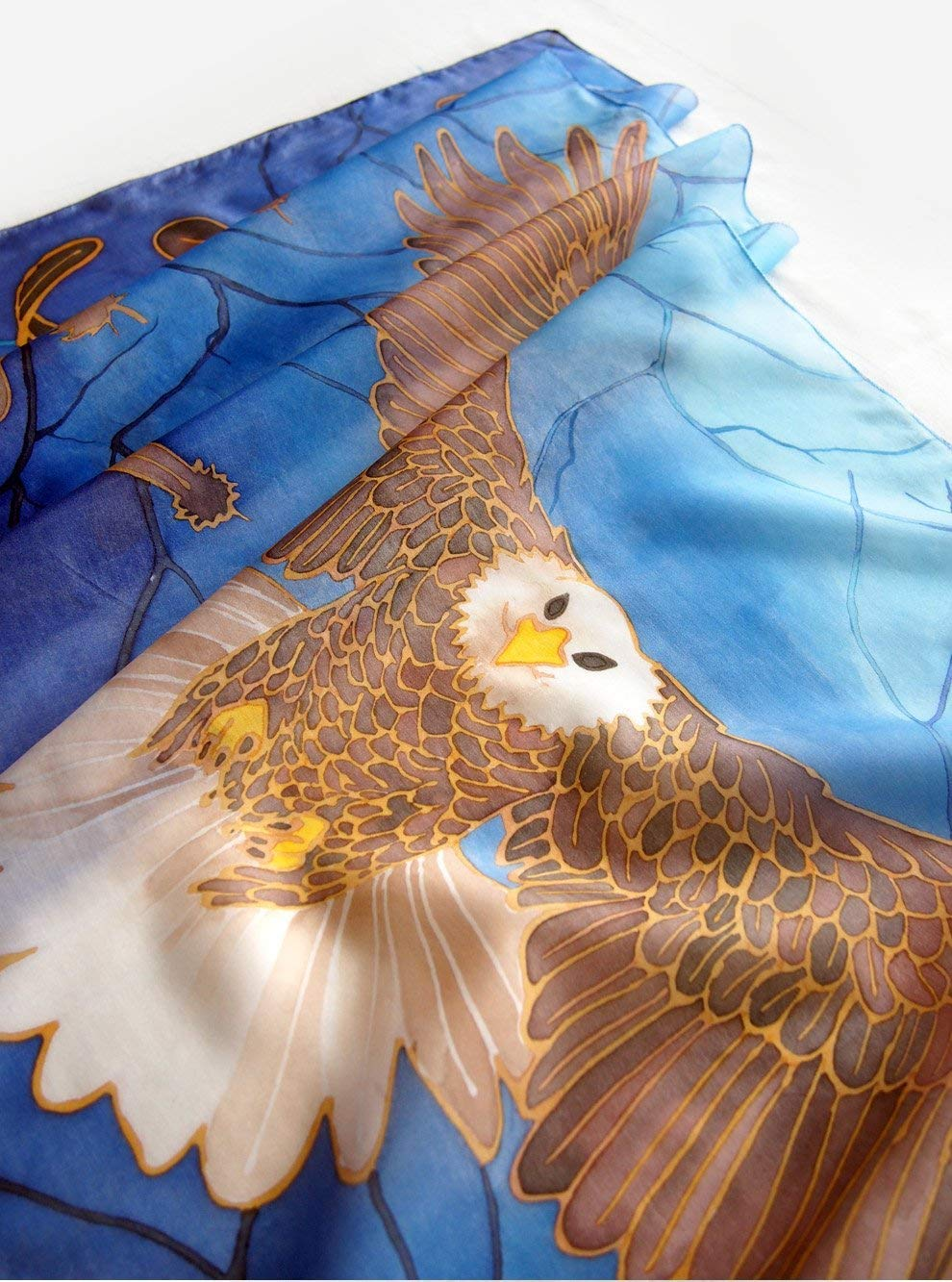 03716a38318 Amazon.com: Eagle scarf - hand painted silk scarves with bird of ...
