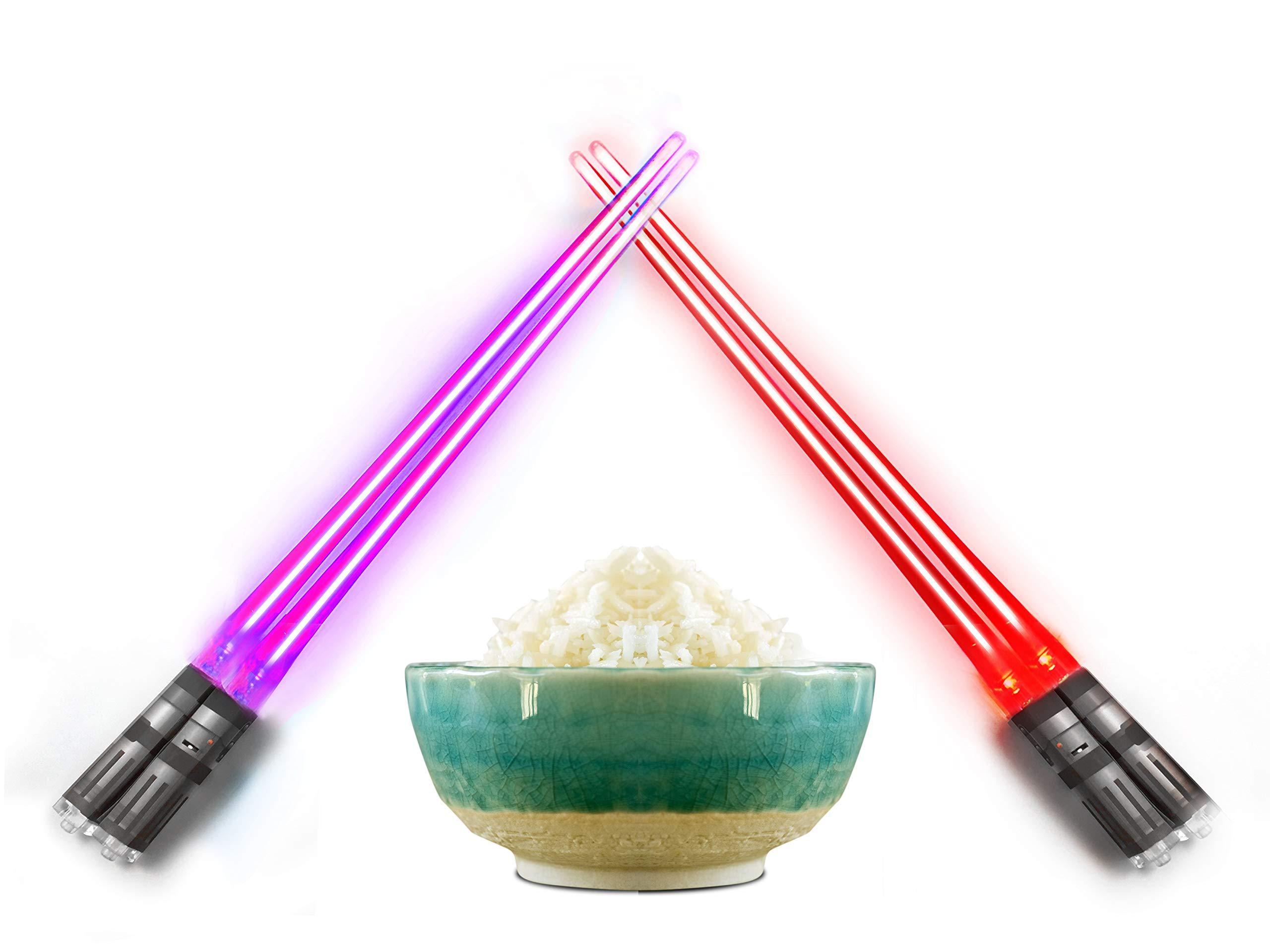 Lightsaber Light Up Chopsticks Led Chopstick, 2-Pairs, Purple & Red