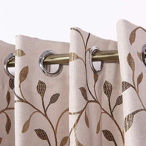 JarlHome Jacquard Leaf Blackout Grommet 52 x 96 Curtains for Bedroom 2 Panels, Beige JR740203