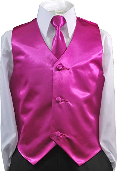 Unotux 2pc Boys Satin Fuchsia Vest and Necktie Set from Baby to Teen