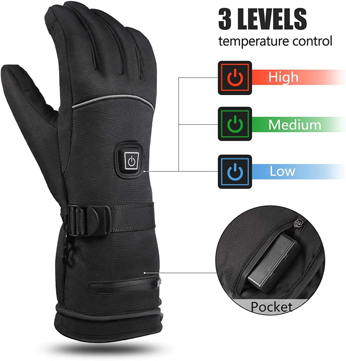 CLISPEED Touchscreen Beheizte Handschuhe Winterheizung Handw/ärmer f/ür Damen Herren Skifahren Snowboarden Radfahren Wandern