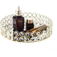 Feyarl Crystal Beads Cosmetic Round Tray Jewelry Organizer Tray Mirrored Decorative Tray