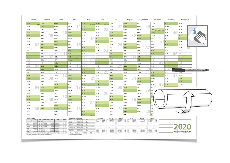 2020 Jahreskalender DIN B0 gr/ün 140,0 X 100,0 cm 250g//m2 feucht abwischbar mit 4-ER FABER-CASTELL Marker