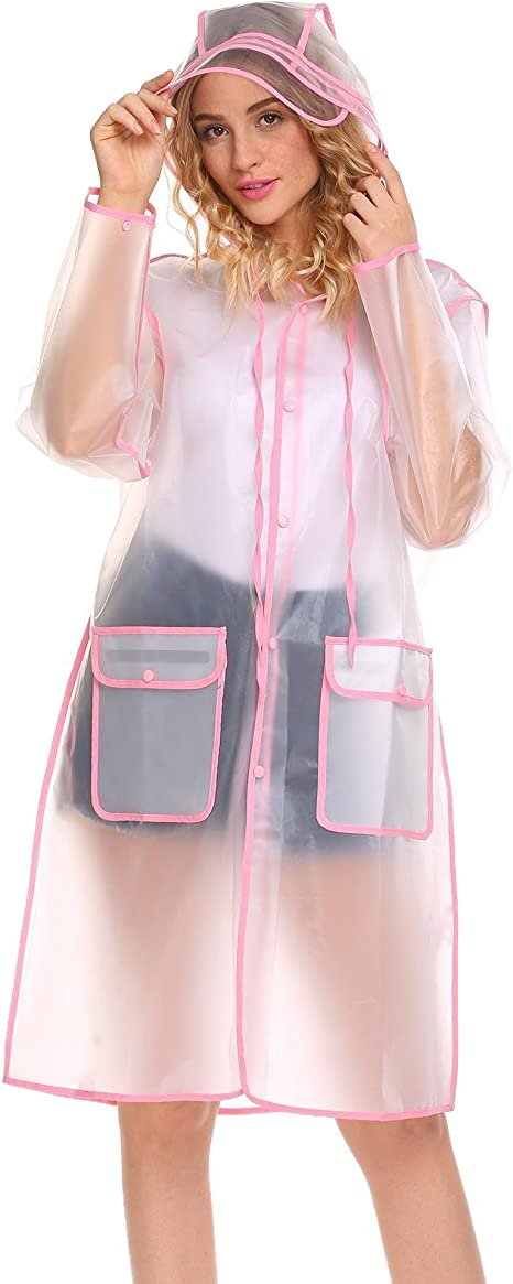 Broadroot Damen Regenmantel transparent Wasserdicht mit Kapuze Knielang Colorful Edge