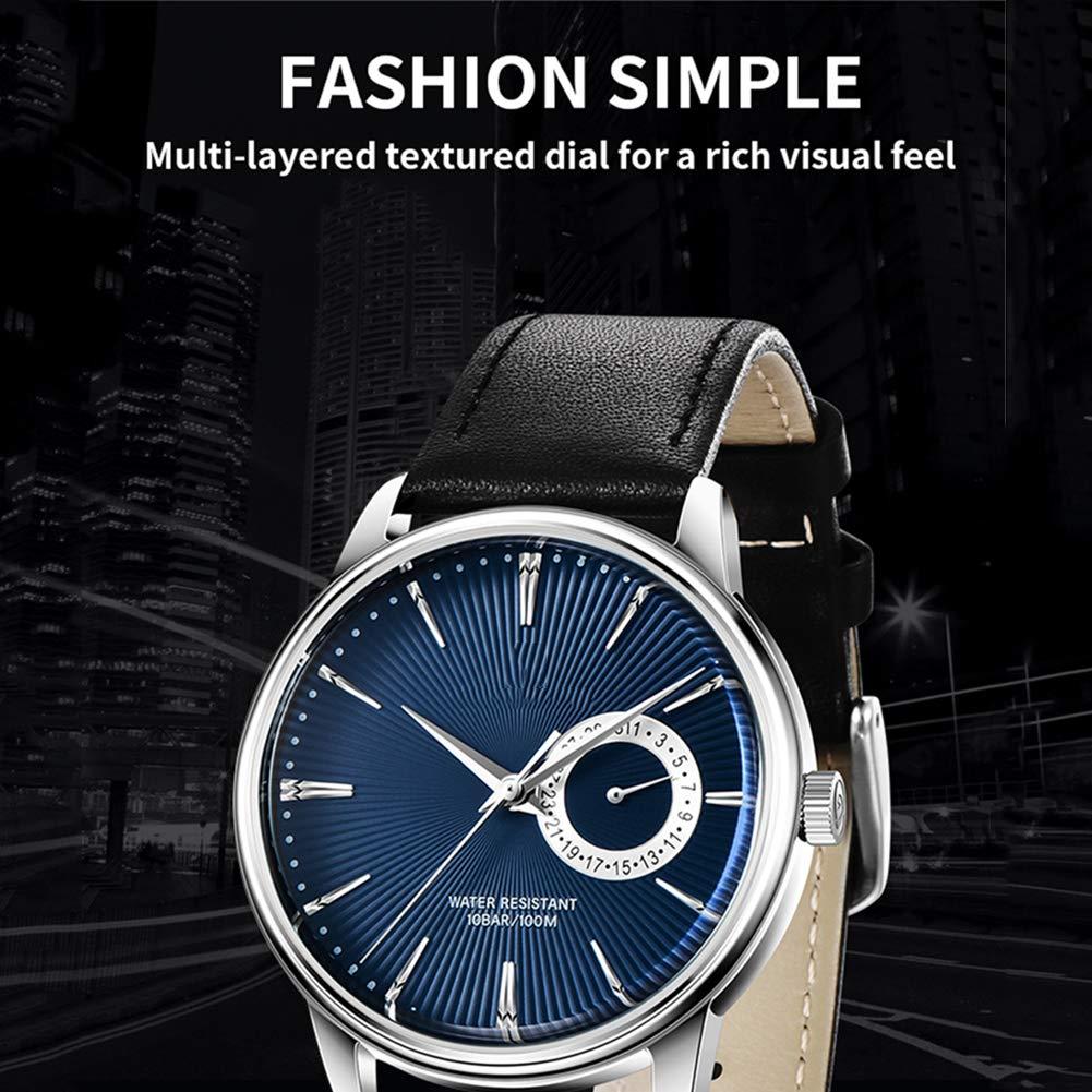 CETLFM ny herr kvarts mode klocka, dekorativ vattentät läderklocka, multifunktionell trend klocka, D en