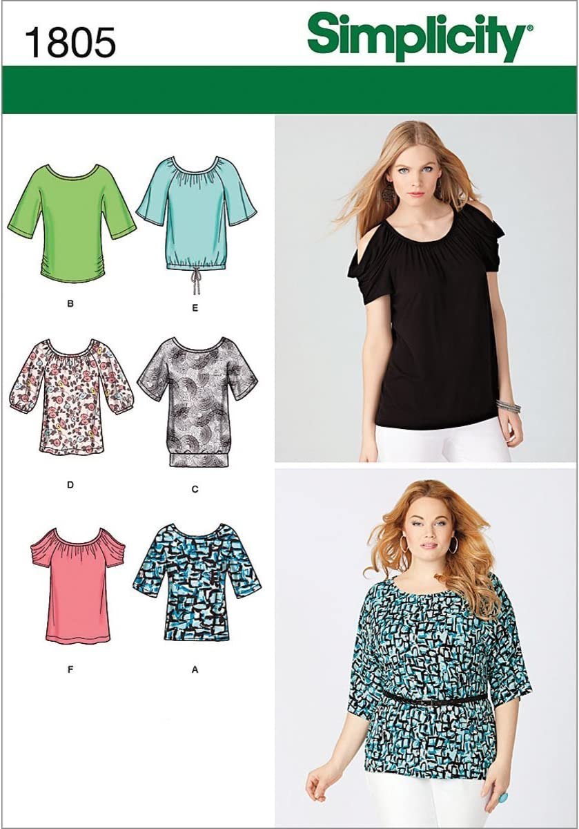Size A XX-Small - X-Small - Small - Medium - Large - X-Large - XX-Large Simplicity 1805 Misses Knit Tops Sized XXS to XXL Sewing Pattern