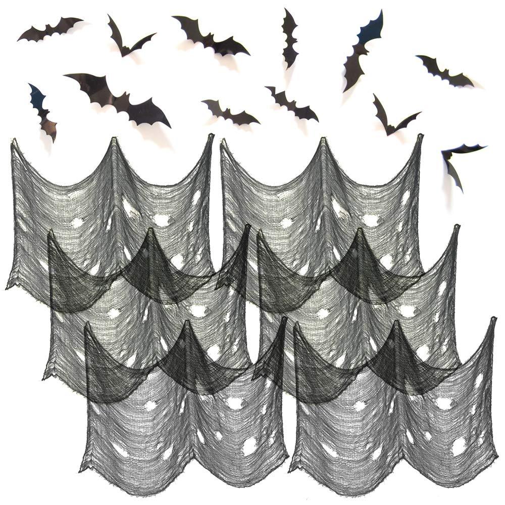 HYOUNINGF 6 Pcs Black Creepy Cloth 30 x 72 Inch and 12 pcs 3D Decorative Scary Bats Wall Decal Wall Sticker, Scary Gauze Cloth Doorways Spooky Halloween Decorations Outdoor Yard Home Wall Decor