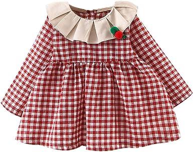 Vestidos para Beb/és Ni/ñas Bautizo Reci/én Nacida Oto/ño Invierno PAOLIAN Vestido de Punto Ni/ñas Manga Larga Fiesta Elegantes Vestir Ropa Ni/ñas Princesa Casual Cuadros 6 Meses-3 A/ños