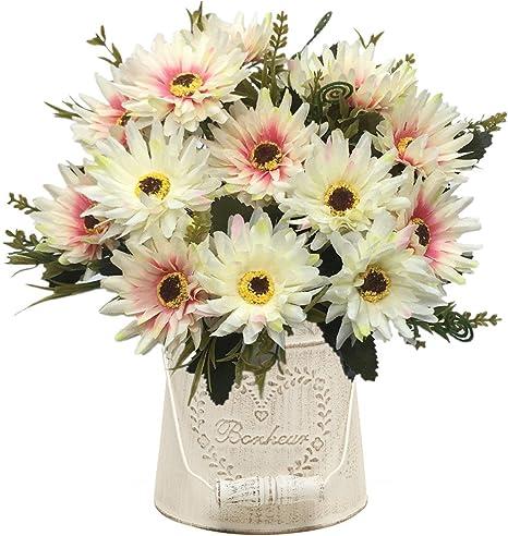 2Pcs Daisy Plastic Autumn Small Silk  Artificial Flowers Home Room Wedding Decor