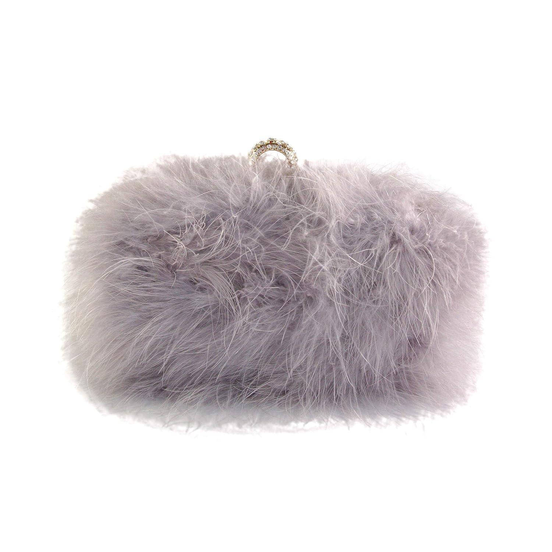 Bewaltz posh style Fluffy Fur Clutch Faux Fur Handbag Evening Clutch Gray   Handbags  Amazon.com 10f3e693bdb00