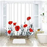 """Vintage Red Poppy Floral Fabric Shower Curtain Set with 12 Hooks 70"""" x 70.8"""" Decorative Mildew Resistant Polyester Bathroom Curtain"""