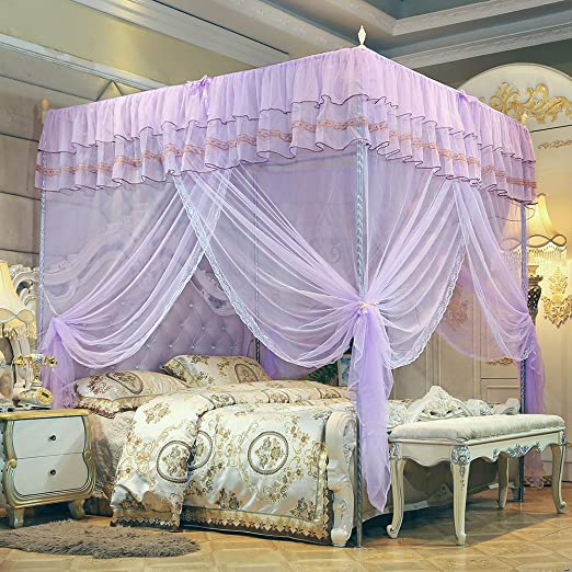 Amazon.com: JQWUPUP Bed Curtains Canopy Queen, 4 Corner Post