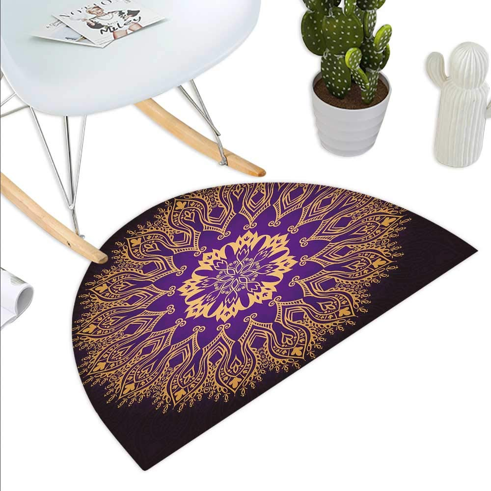 color14 H 31.5  xD 47.2  Mandala Semicircle Doormat Paisley and Round Motifs South Asian Symbols Ethnic Inspirations Native Culture Halfmoon doormats H 27.5  xD 41.3  Grey Tan Beige
