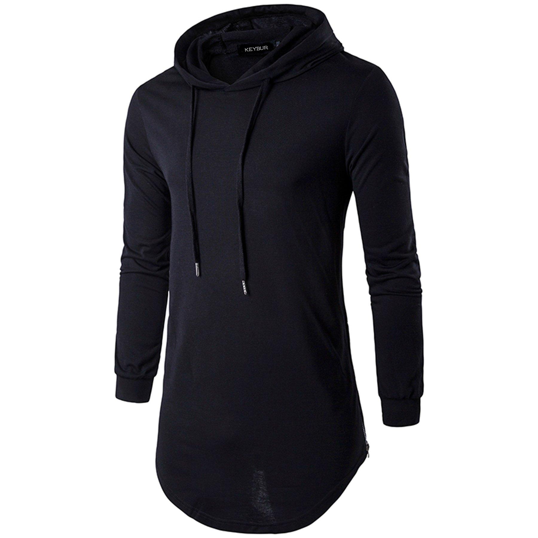 Keybur Mens Hipster Hip Hop Longline Classic Pullover Long Sleeve Hoodies Fashion Sweatshirt (M, Black)