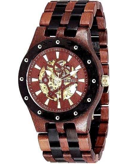 AutomáTico Esqueleto Reloj MecáNico AutomáTico Reloj Madera Relojes Automaticos Para Hombre: Amazon.es: Relojes