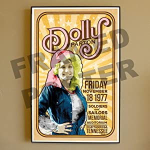 Dolly Parton Framed Poster November 18 1977 Chattanooga Tennessee Live (Framed)