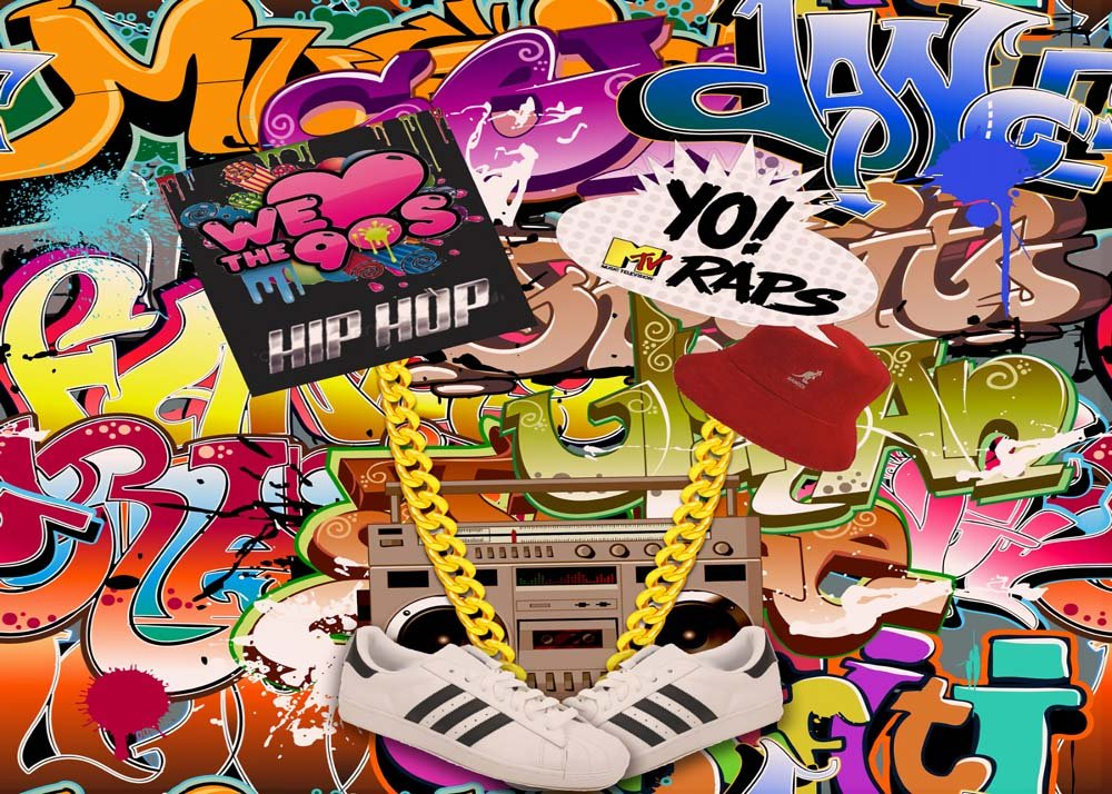 MengGeGe Photography Backdrop Hip Hop 80's 90's themed Party Decoration Photo Bacground 7x5ft by MengGeGe