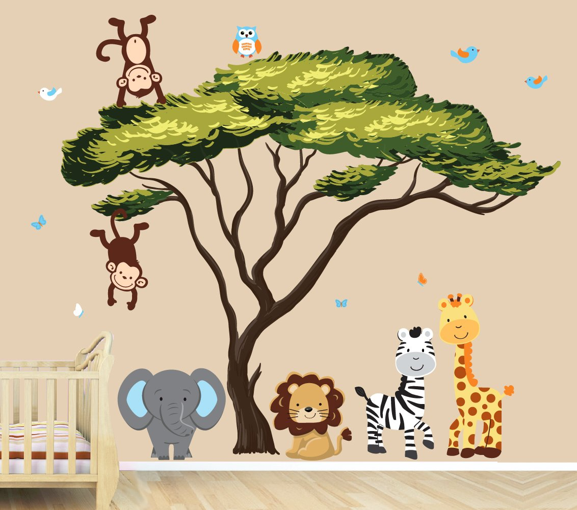 Large Jungle Tree Decal with Green Leaves, African Tree with Paradise Animals