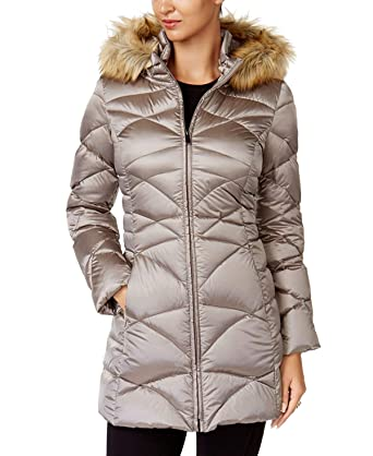 184d07c0b7bb Image Unavailable. Image not available for. Color  Jones New York Women s  Faux-Fur-Trim Quilted Down Puffer Coat ...