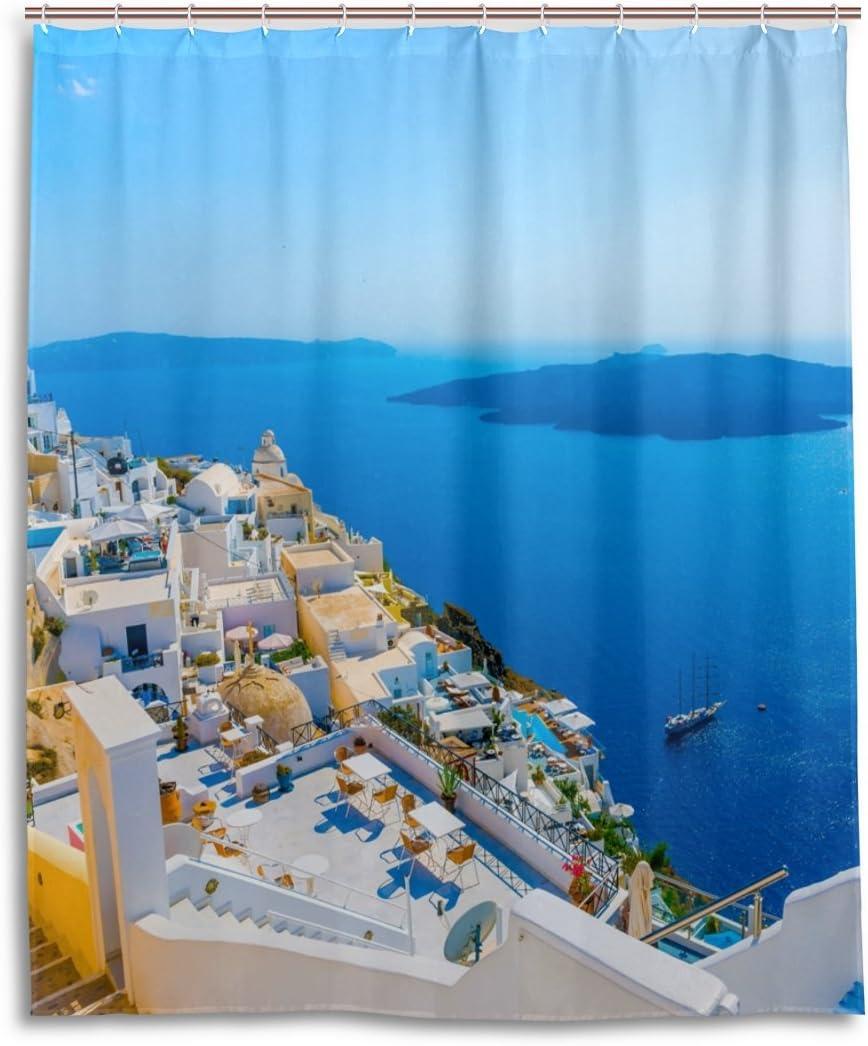 LIANCHENYI Grecia Santorini Caldera - Cortina de baño impermeable 100% poliéster, cortina de ducha decorativa para el hogar, 60 x 72 pulgadas