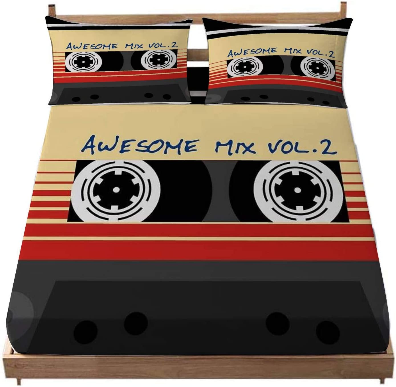 Deep Pocket Fitted Sheet Awesome Mixtape Vol 2 Cassette Retro