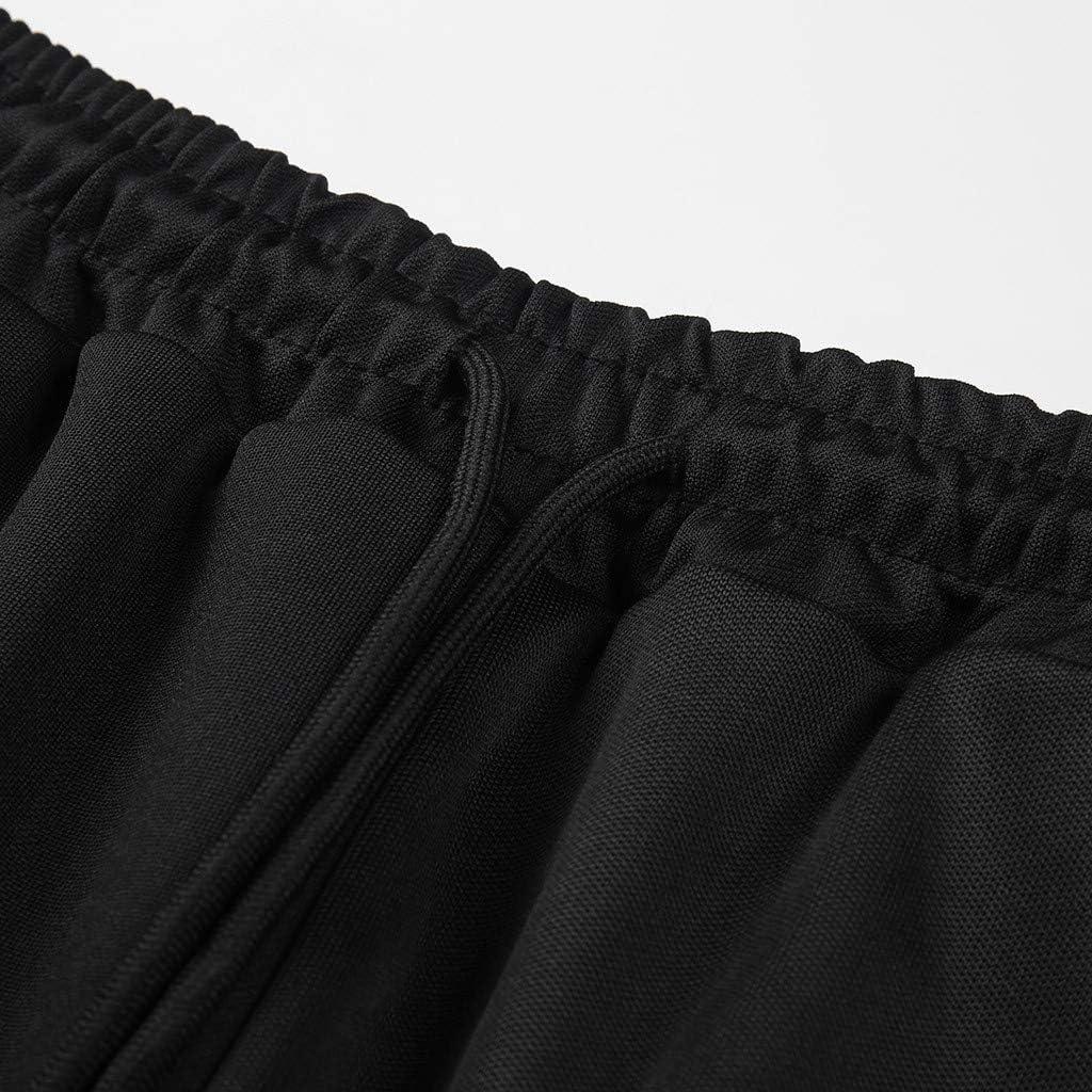 Transer Mens Jogger Pants Stretchy Cotton Side Color Block Elastic Waist Drawstring Fitness Running Sportpants