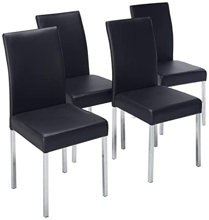 Kings Brand Furniture Parson Chairs With Chrome Legs (Set Of 4), Black