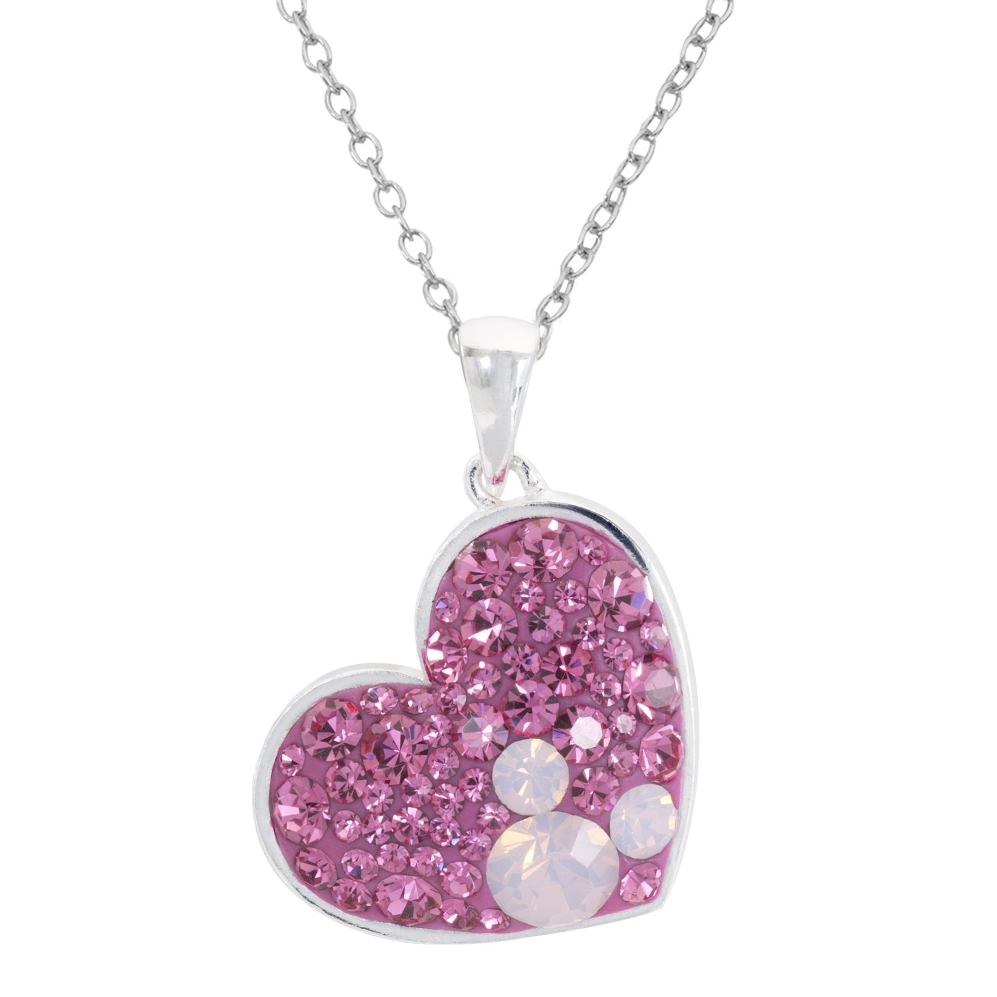 Disney Mickey Mouse Silver Plated Multi Pink Crystal Heart Pendant, 18''