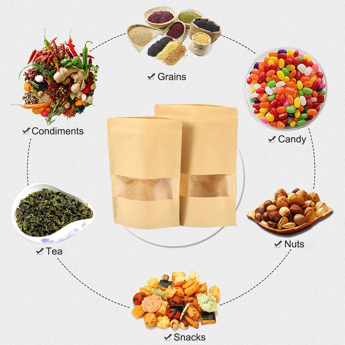 Cierre Zip Impermeable Reutilizables bolsas de sellado Almacenamiento de Alimentos Bolsa de Papel Kraft 14 * 24cm 30 Piezas Bolsas de Papel Kraft con Ventana