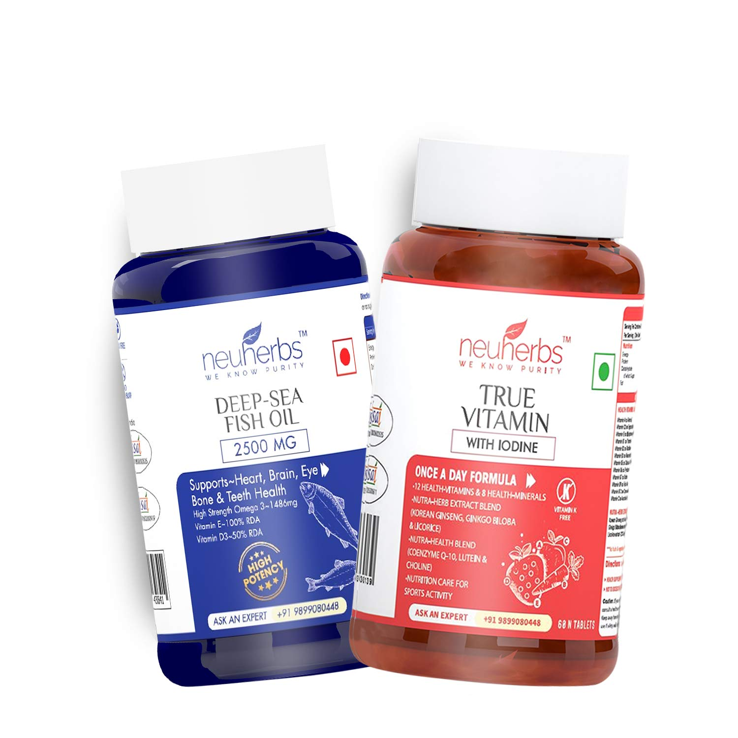 Neuherbs Daily Vitamin Supplement Combo- Multivitamin With Zinc, Iodine And Vitamin C + Omega-3 Fish Oil Capsules (Deep Sea Fish Oil 2500 Mg) : 60 Units Each For Men And Women :
