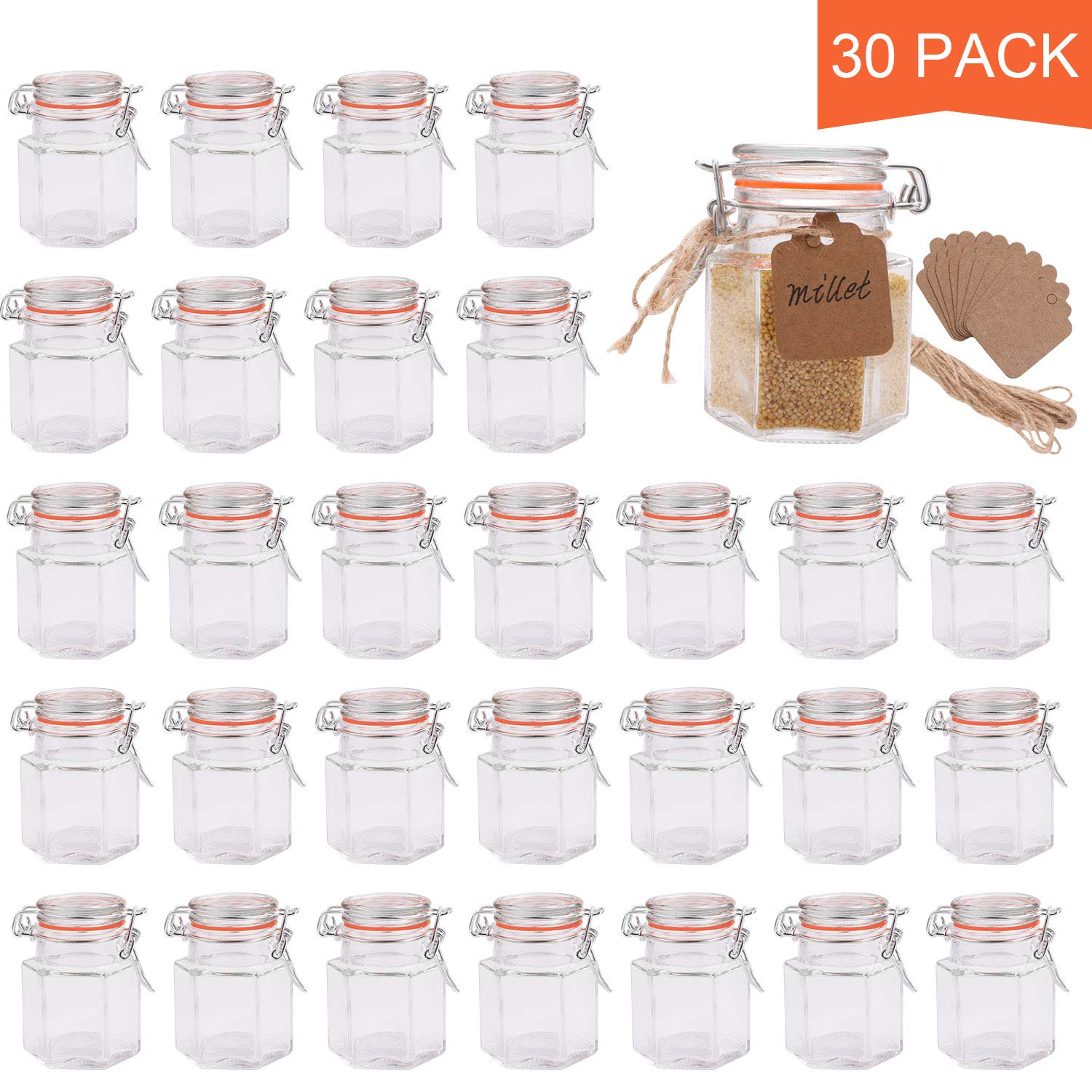 Small Glass Jars,Encheng 4 oz Hexagon Jars With Airtight Lids And Leak Proof Rubber Gasket,Small Mason Jars With Hinged Lids For Kitchen,Mini Spice Jars With Twine And Tags Labeling 30 Pack