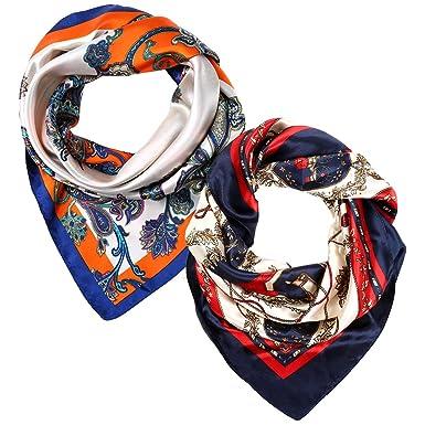 VBIGER Foulard carré en soie Bandana avec Motifs Floraux Châle doux pour  les femmes,2pièce e1a0a0c57be