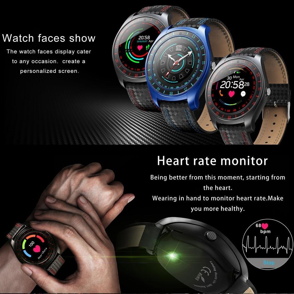 Amazon.com: Beseneur V10 Smart Watch hombres con la cámara Bluetooth Smartwatch Pedometer Monitor tarjeta Sim reloj para teléfono Android (Black Red): Cell ...