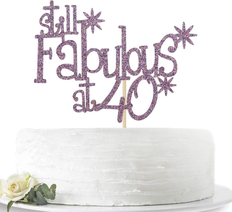 Purple Glitter Still Fabulous at 40 Cake Topper - Happy 40th Birthday Cake Decor - 40th Birthday/Anniversary Party Decoration