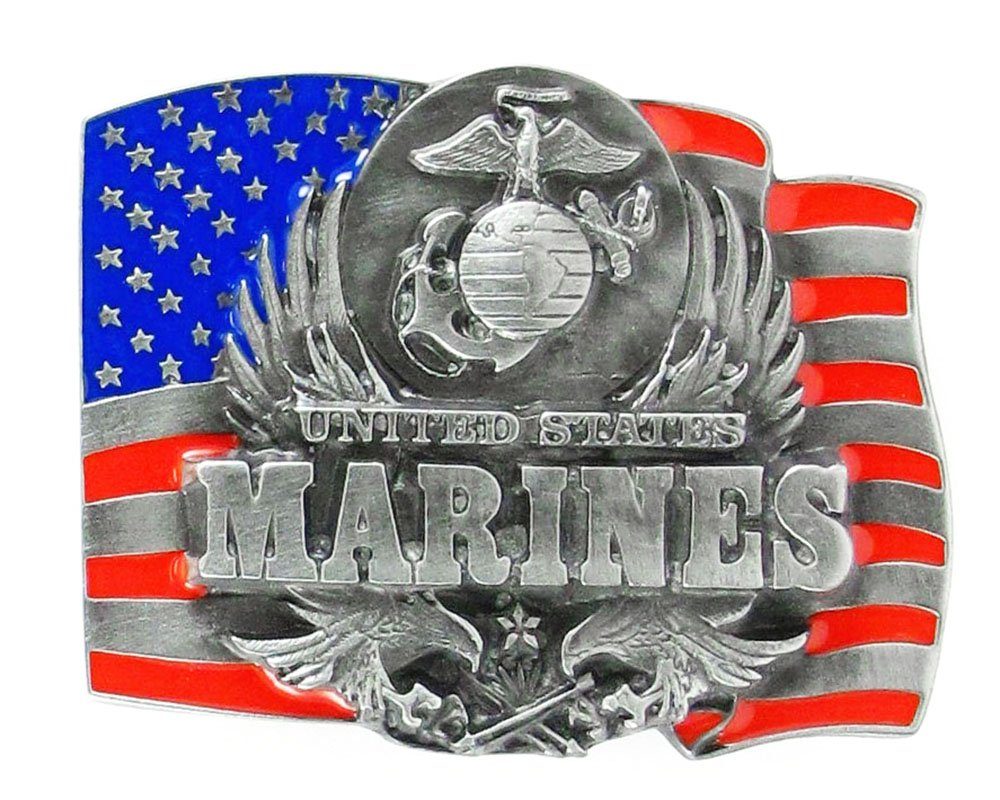 US Marines Enameled Pewter Belt Buckle - NCAA College Athletics Fan Shop Sports Team Merchandise
