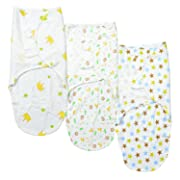 FindUWill Swaddle Blanket, Adjustable Infant Muslin Fastener Baby Wrap Set (3 Pack)