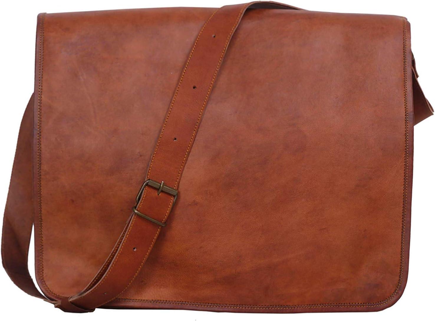 KPL 18 INCH Leather Laptop bag handmade messenger bags satchel for men and women (18 INCH)