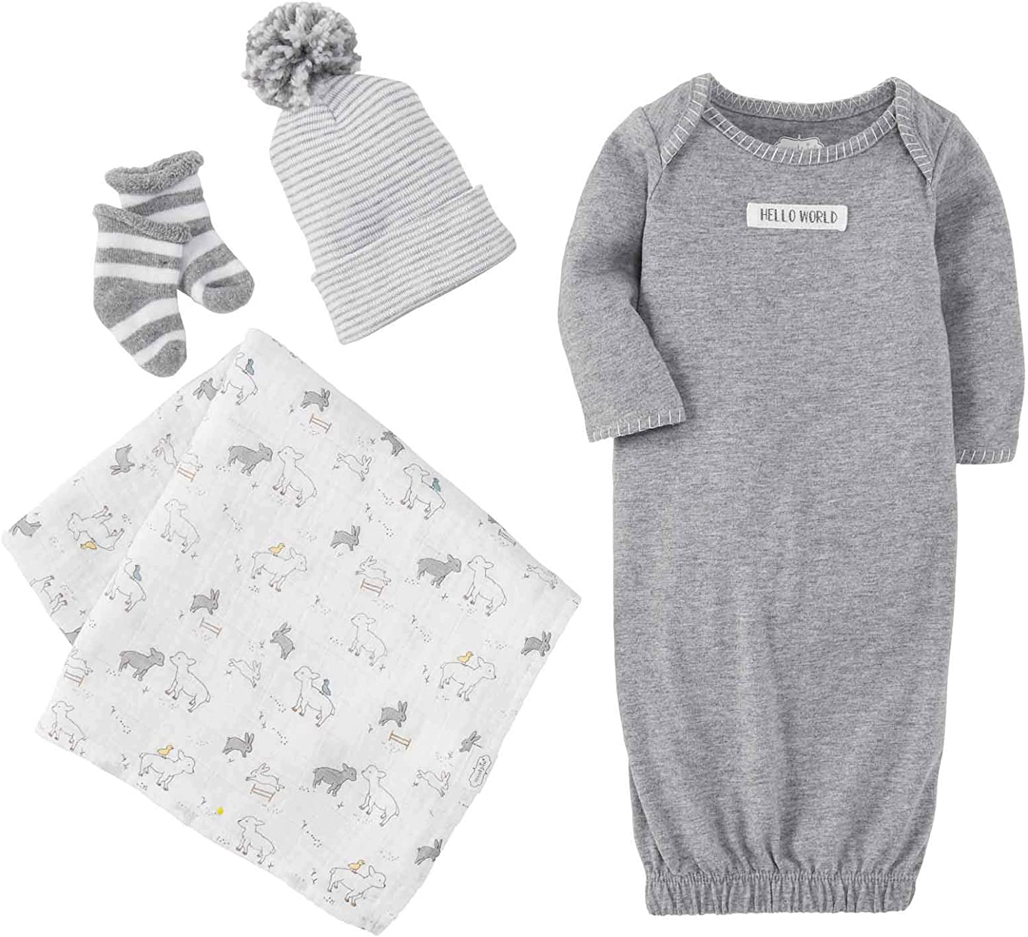 Mud Pie Baby Newborn TAKE ME Home Layette Set, Gray