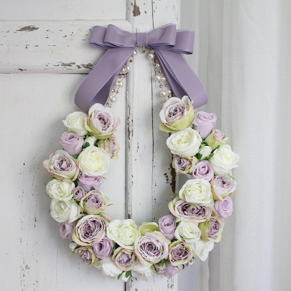 adeeing Wreath、人工花花輪ガーランド花柄ローズRattan Small花輪ガーランドのホーム壁ドアウェディングパーティー装飾、11インチ パープル B07DSHCCGN パープル